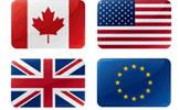Canada, USA, UK, EU flags for multi-currency processing