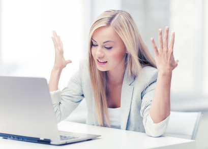 Flustered Woman on Computer
